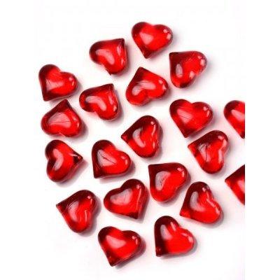 SiDeSo® Dekosteine Herzen 30 Stück viele Farben Acryl Tischdeko Streudeko Hochzeit (rot)