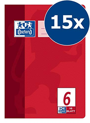 Oxford Schule Schulheft A5, blanko, Lineatur 6, 16 Blatt, rot, 15er Pack