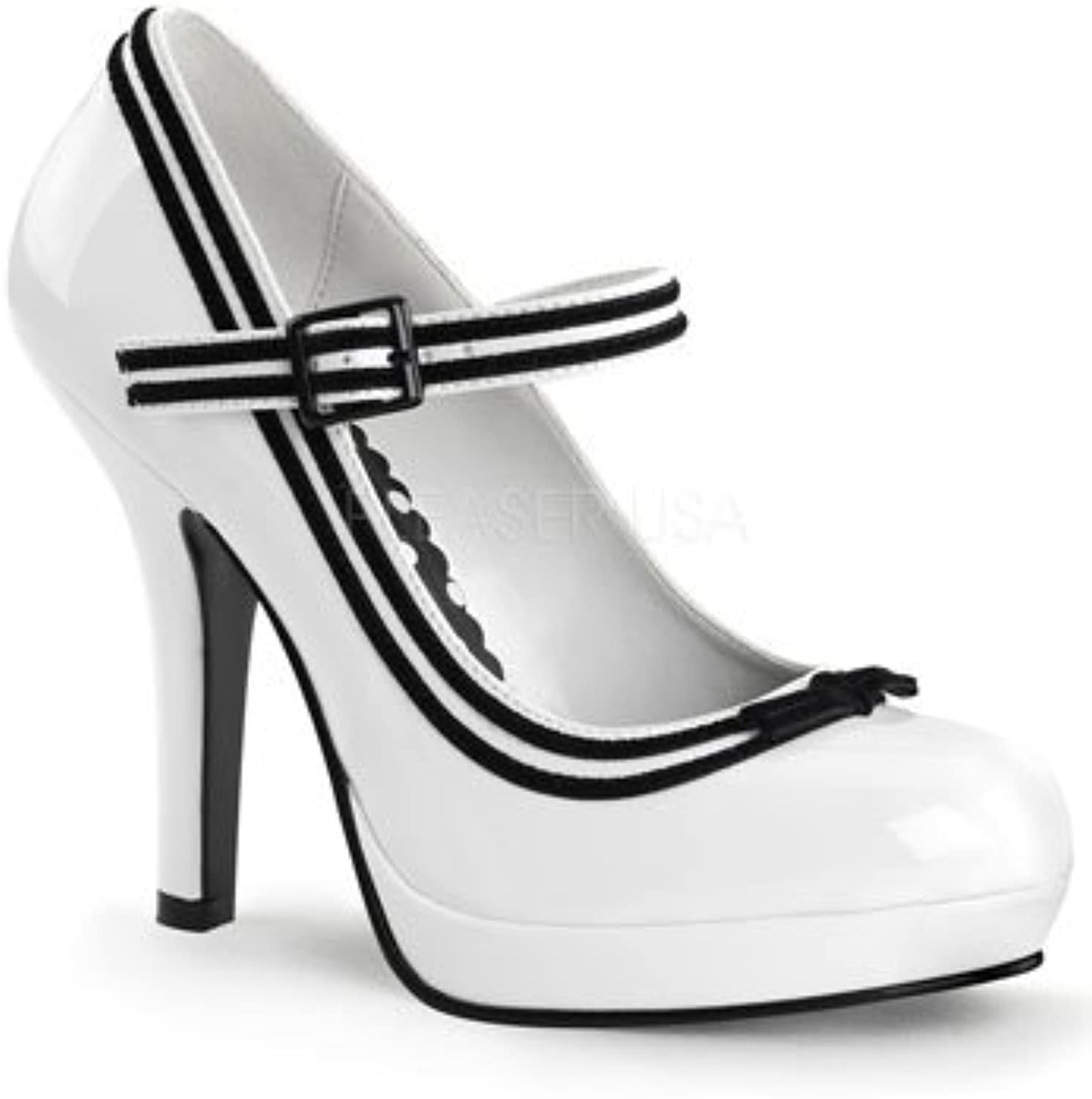 Women's Pin Up Couture Secret 15 Strap Heel White