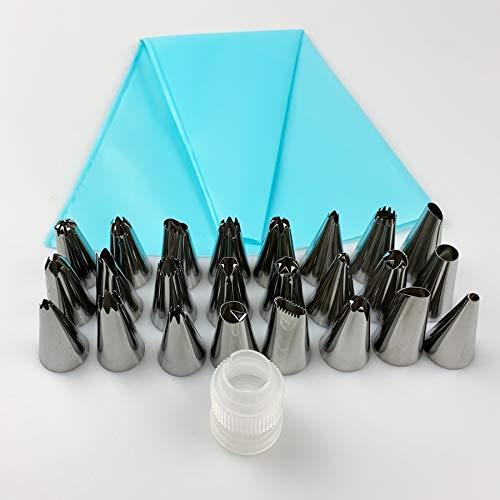 26pcs / set Consejos de silicona de confitería Bolsa de bricolaje Cocina formación de hielo de crema de tuberías reutilizable bolsos de los pasteles + 24 Boquillas de la torta de herramientas de decor