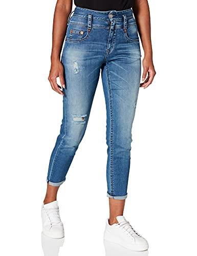 Herrlicher Damen Pitch Mom Denim Powerstretch Jeans, mid Destroy 715, W29/L32