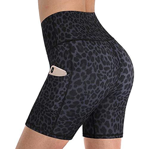Jiangying Pantalones Cortos De Entrenamiento De Cintura Alta para Mujer Pantalones Cortos Atléticos De Yoga Sin Salida De Yoga con Bolsillos Pantalones Cortos De Entrenamiento Pantalones