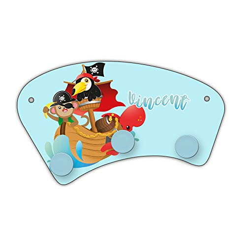 Eurofoto Wand-Garderobe mit Namen Vincent und Tier-Piraten-Motiv für Jungen | Garderobe für Kinder | Wandgarderobe