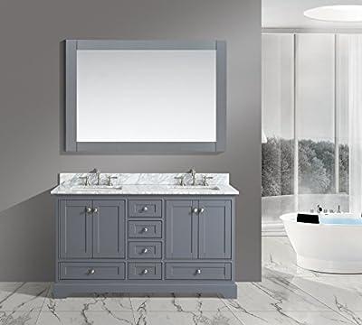 "Urban Furnishing - Jocelyn 60-Inch (60"") Bathroom Sink Vanity Set with White Italian Carrara Marble Top - Charcoal"