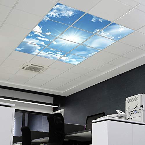 banjado LED Lichtdecke mit Acrylbild | Lichtdeckenplatte Acryl 186x186cm inkl. Deckenpaneel 36 W, 4000 Kelvin Clouds | Deckenleuchte Rasterdecke | Bürolampe, Praxisleuchte, Rezeption Wartezimmer