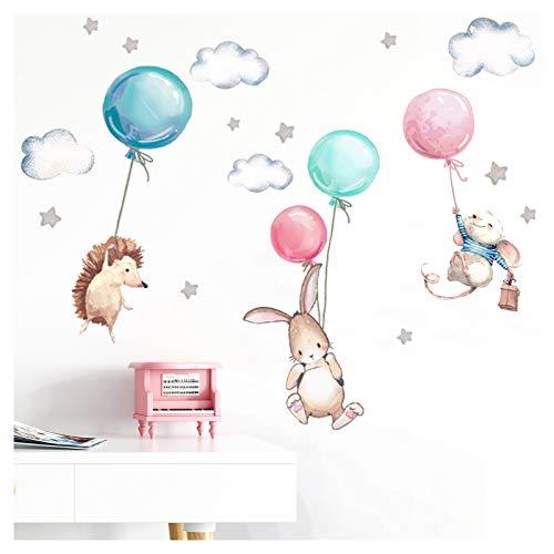 Little Deco Wandtattoo Babyzimmer Tiere & Luftballons I Wandbild 76 x 48 cm (BxH) I Hase Igel Sterne Kinderzimmer Aufkleber Baby Mädchenzimmer DL507
