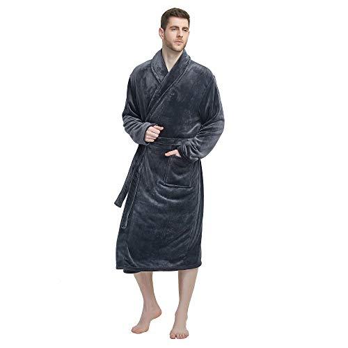 U2SKIIN Mens Fleece Robe Plush Collar Shawl Bathrobe(Grey,L/XL)