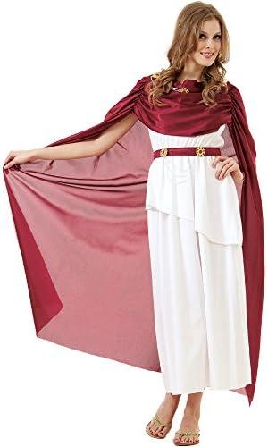 Roman Empress Women s Halloween Costume Olympic Queen Goddess Caesar Toga Dress White product image