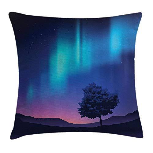 Funda de almohada de estilo geométrico, aspecto moderno y fractal, con patrón de línea vertical, colores suaves, ilustración, decoración rectangular, funda de almohada de 20 x 36 pulgadas, color azul crema