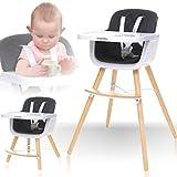 2IN1 Hochstuhl mit Beinen aus Holz 5 Punkt Sicherheitsgurte in PREMIUMQUALITÄT/Kinderhochstuhl/Babyhochstuhl/Kombihochstuhl (Schwarz)