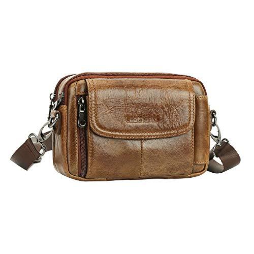 Leathario heuptas geldriem schoudertas heren 100% echt leer - vintage & ruim design - multi-zakken, meerdere steekvakken - perfect als telefoonhoes voor op reis