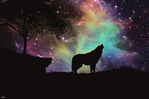 Wolf Silhouette Howling Galaxy Nebula Stars Poster 24x36 Home Decor Print