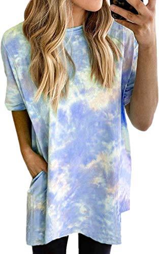 Spec4Y 2020 T-Shirt Damen Sommer Tie Dye Shirt Bunt Rundhals Tunika Kurzarm Casual Pyjamas Freizeit Top Strand Blusen Blau X-Large