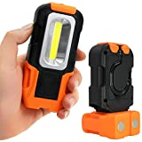 TORCHSTAR Portable LED Work Light, Hanging Hook & Magnetic Flashlight, Battery Operated, COB Pocket Work Lights for Car Repairing, Emergency, Hiking, Camping