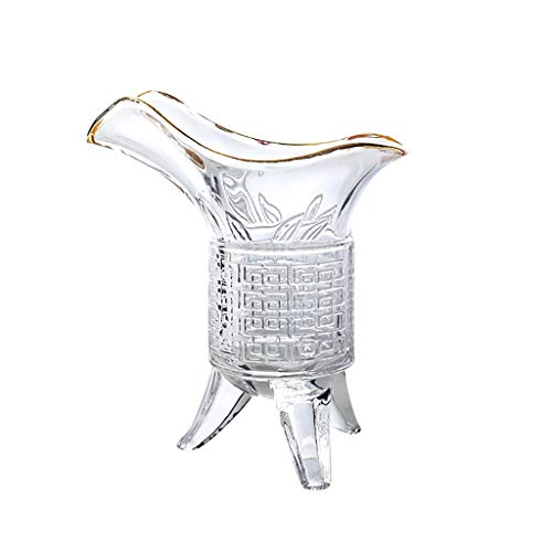 Dongxiao Beer Mug Emperor Shot Glass Archaize Wine Cup with Spout and Three Legs Glass for Beer Whiskey Tequila (Color : Clear2)