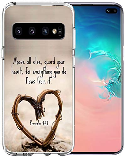 Case for S10 Plus Bible Protective - Topgraph [Soft TPU Slim Fit Black with Design] Cover Compatible with Samsung Galaxy S10 Plus Protective Cover Christian Songs