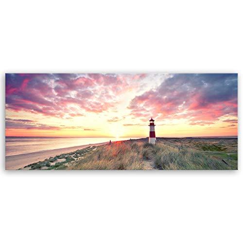 Bilderdepot24 hochwertiges Leinwandbild XXL Panorama - Leuchtturm auf Sylt - 120 x 50 cm einteilig 1286