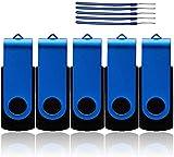 WooTeck 5Pack 32GB Memory Stick USB 2.0 Thumb Flash Drives Data Storage Swivel Cap Design - Metal Blue