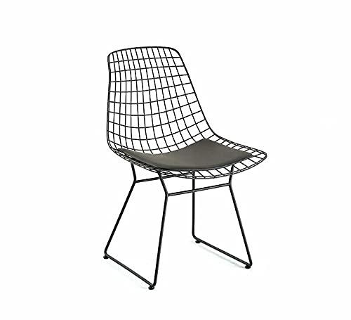 mina concept 61-1 Silla de alambre de metal negro – 46 cm de asiento y 80 cm de altura total con respaldo – Cojín negro