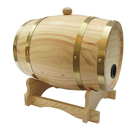 Cozy69 Pine Barrel - Dispensador de vino de roble vintage para almacenamiento de bebidas alcohólicas de vino, cerveza, decoración de restaurantes (18 x 23 cm)