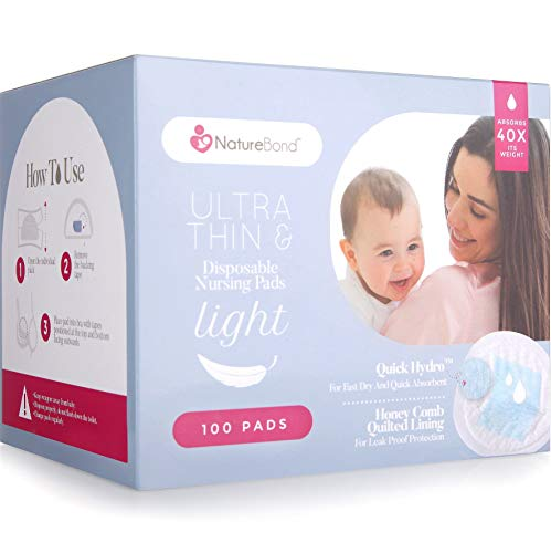 NatureBond Disposable Nursing Pads Ultra Thin 100 Pcs. Breastfeeding Pads, Light, Contoured and Highly Absorbent Breast Pads (100 Pads)