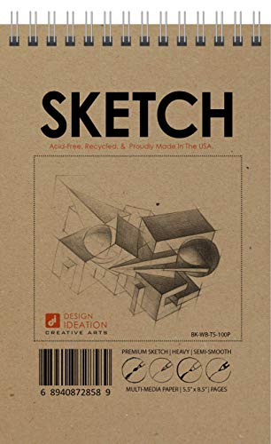 Design Ideation Sketch :Multi-Media Paper Sketch Book for Pencil, Ink, Marker, Charcoal and Watercolor Paints. Great for Art, Design and Education. Classic 5.5' x 8.5' (1)