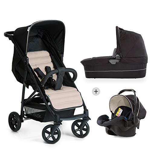 Hauck Rapid 4 Plus Trio Set 3 in 1 Kinderwagen Set bis 25 kg, isofix-fähige Babyschale, Babywanne mit Matratze ab Geburt, höhenverstellbarer Griff, klein faltbar, leicht, caviar/beige