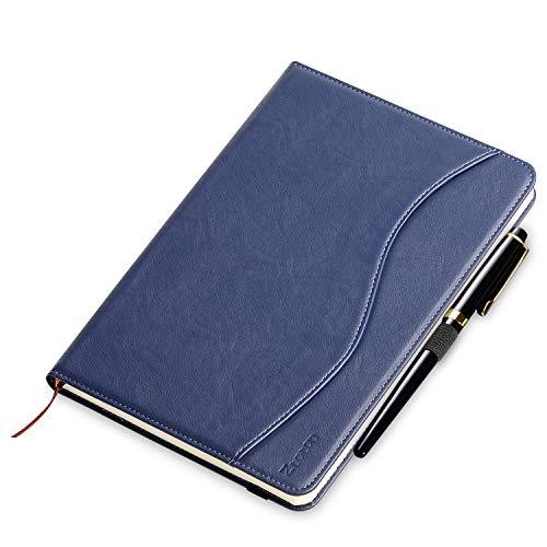 Cuaderno de Punteado/Rayas, Ztotop A5 Classic Cuero de negocios Lined Journal notebook Papel grueso, Lay-Flat 180°,Portalápices, Bolsillo interno, Cierre elástico(a5, 8.5' x 5.7', 100gsm),Azul marino