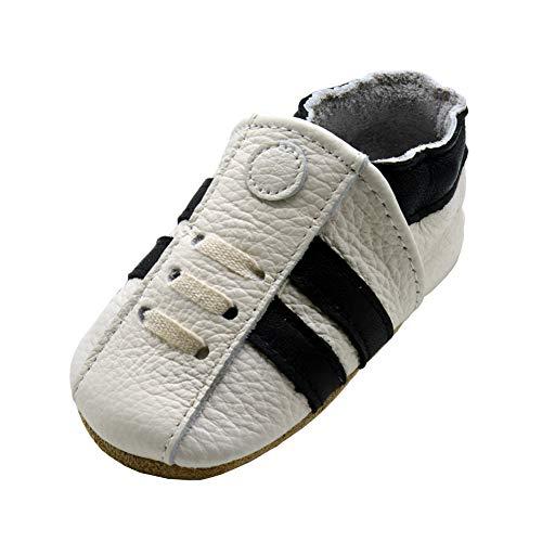 iEvolve Baby Babyschuhe Wildledersohle Baby Lederschuhe Lauflernschuhe Krabbelschuhe Vielzahl Art(Weiß Sneaker,12-18 Monate)