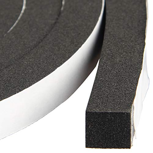Window Insulation Weather Stripping 2 Rolls 1/2 Inch Wide X 1/2 Inch Thick, Closed Cell Foam Tape...