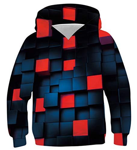 NEWISTAR Hoodie für Jungen und Mädchen 3D-Druck Lustig Kapuzenpull Sweatshirt Kapuzenjacke,A-cube (Rot),12-13 Jahre (Tag L)