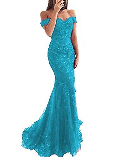 OYISHA Women's Lace Mermaid Prom Dress with Cap Sleeve Long Off The Shoulder Wedding Bridesmaid Dress Blue 18W