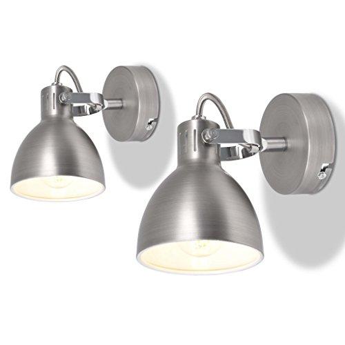 vidaXL 2x Wandlamp voor 2 Peertjes E14 Grijs Wand Lampen Designlamp Spotlights