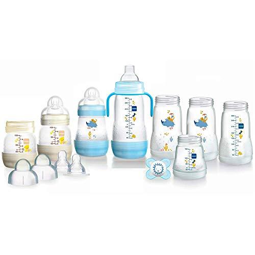 MAM EasyStart Anti-Colic Babyflaschen Set, Bodenventil gegen Koliken, mitwachsend, selbst-sterilisierend, Farbe: blau-creme