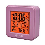 QUIGO Small Digital Alarm Clock Atomic Battery Operated Desk Bedroom Bedside Nightstand Kid Smart Travel Temperature Day Date (Pink)