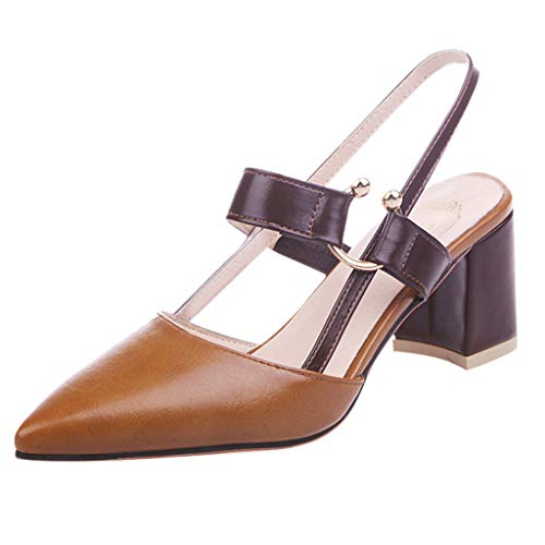 Damen Spitze Absatzschuhe mit Blockabsatz Pumps Slingpumps Mittelhohe Elegante Schuhe Bequem Frühling Sommer Sandalen Celucke (Braun, EU38)