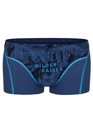 EIN SCHÖNER FLECK ERDE. Herren Boxershorts Wilder Kaiser, Bio-Baumwolle, Fair produziert, Alpines Design, Bedruckt, Sportblau, M