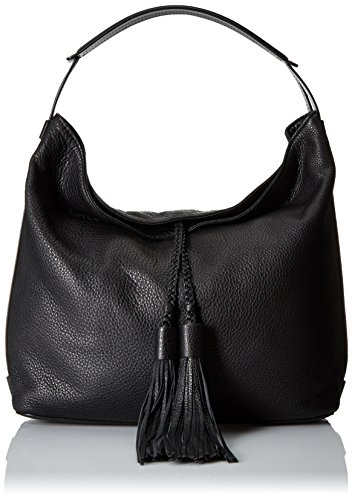 "Hobo handbag in lightly pebbled leather featuring braided ties with tassels Textured leather handbag in slouchy hobo silhouette featuring braided tassels at front 12.5""W X 12.5""H X 4.5""D"