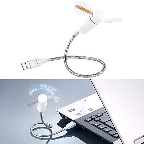 PEARL LED Ventilator: USB-Ventilator mit 8 programmierbaren Laufschriften, je 26 Zeichen (USB LED Ventilator programmieren)
