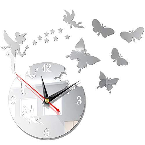 Orologio da parete fai-da-te, orologio da parete con stella a farfalla con angelo a specchio 3D, orologio da parete con decorazione moderna creativa, orologio da parete per ufficio