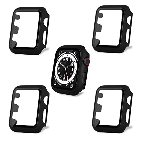 AOTUAO Funda Compatible con Apple Watch Serie 3 2 1 38mm, Estuche Rígido Delgado PC Protector de Pantalla Cristal Templado para iWatch, 4Piezas Negro Negro Negro Negro