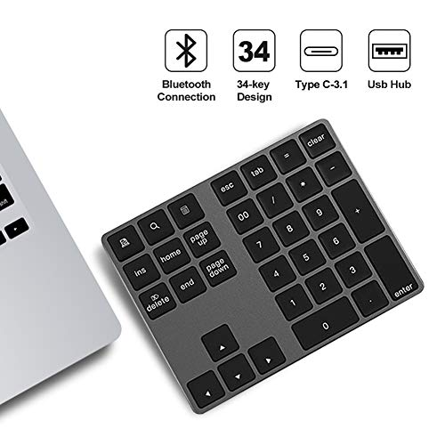 Kasono Wireless Bluetooth Number Pad, Rechargeable BluetoothNumericKeypad, 34-Key Number Keyboard with Multiple-Function Shortcuts for PC, Laptop, Notebook, Surface pro, Mac Book Pro, Tablet etc