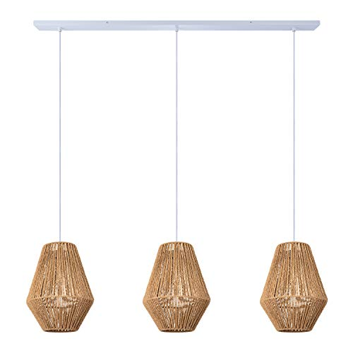 Paco Home Lampe Pendelleuchte Hängelampe Lampenschirm Rattan Optik 1,5m Textilkabel Kürzbar E27, Lampenschirm:Natur (Ø30 cm), Lampentyp:Weiß 3-flammig 120cm