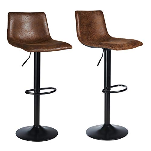 VIAGDO Counter Height Bar Stools Set of 2 Swivel Bar Stools with Backs, Height Adjustable Hydraulic Bar Chairs, Modern Indoor Barstools for Kitchen Counter Pub Stools, Retro Brown