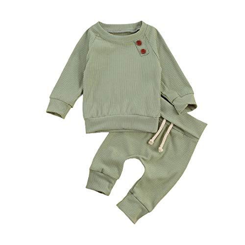 Bawo Conjunto de ropa para recién nacido, bebé, niña, niño, camiseta de manga larga, tops, pantalones, primavera y otoño, 2 unidades, verde, 18-24 Meses