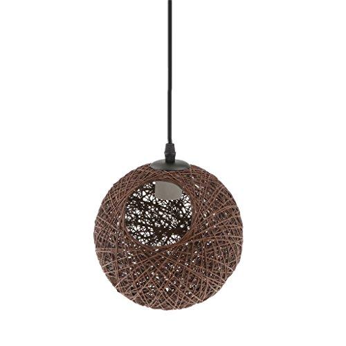 Landhaus Stil, E27 Rund Kugel Weidenkugel Decke Lampenschirm, mit Loch 20cm, mit Kabel 80cm, für Glühbirne Pendelleuchte Hängeleuchte Deckenleuchte Wohnzimmer Dekoration - Kaffee
