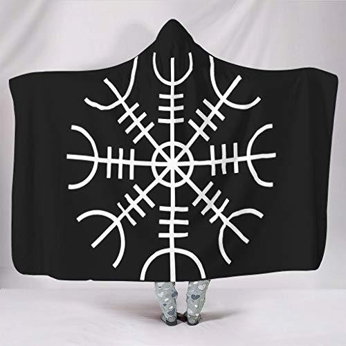 Zacht met capuchon, deken, zwart, Scandinavisch Vikinghelm, de Ehrangst, helm van de Griekse Totem IJslandse magische duiken, druk warme winter fleece mode televisiedeken duiktje sofa slaapkamer