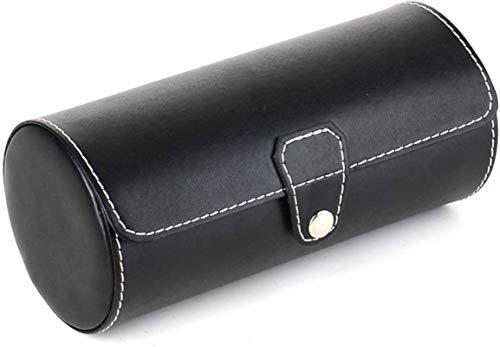 Multifunktional Watch Aufbewahrungsbox Leder Roll Traveler Uhrenaufbewahrungsorganisator für 3 Uhren- und/oder Armbänder Watch-Display-Box (Farbe: Schwarz, Größe: s) (Color : Black, Size : Small)