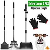 MOICO Dog Pooper Scooper, Extra Large Adjustable Long Handle Pooper Scooper for Large Dogs, Metal Tray, Rake and Spade Poop Scooper Set for Pet Poop Waste Removal