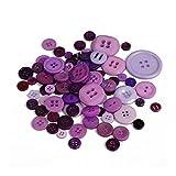 HEIFENGMUMA Soporte DIY Cosecha 100 Piezas 2 Agujeros del Color Rojo de la Ronda de Resina Botones de Costura Scrapbooking Cardmaking Craft Multi Size Accesorios de Costura Sistema (Color : Purple)